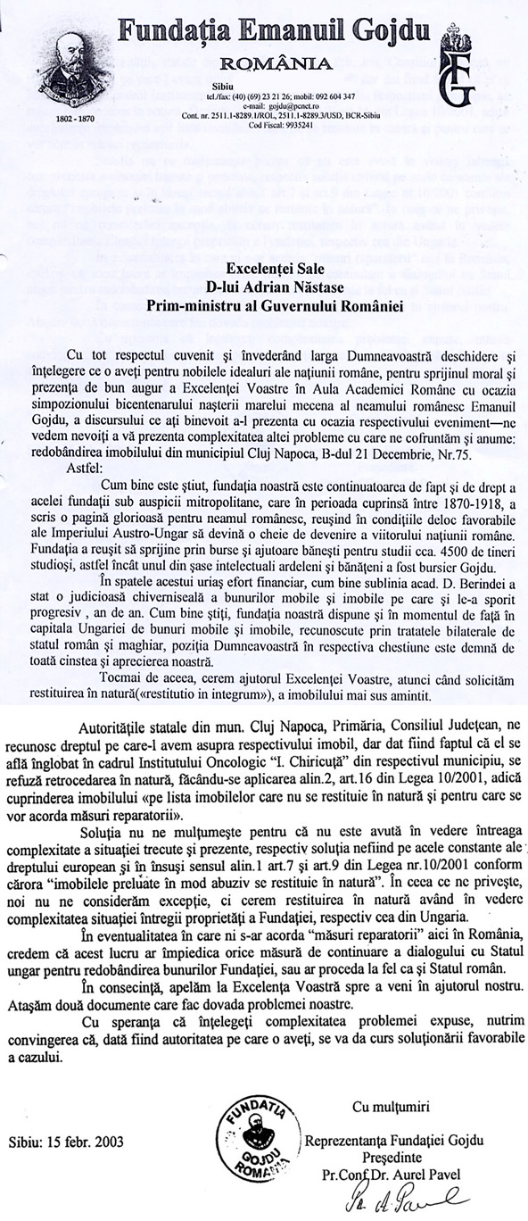 Scrisoare adresata Primului Ministru A. Nastase
